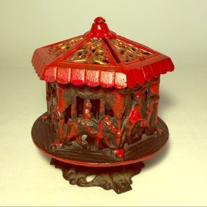 Vintage Cast Iron Carnival Carousel Piggy Bank